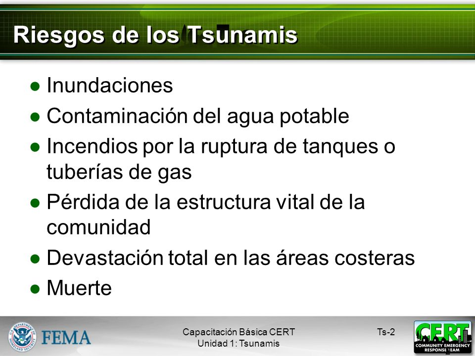 Riesgos de los Tsunamis