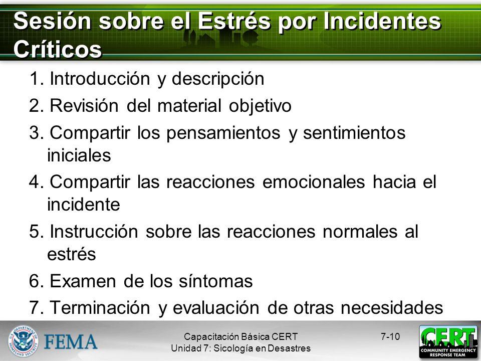 Sesión sobre el Estrés por Incidentes Críticos