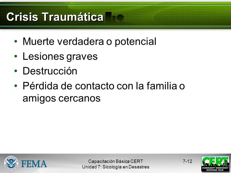 Crisis Traumática Muerte verdadera o potencial Lesiones graves