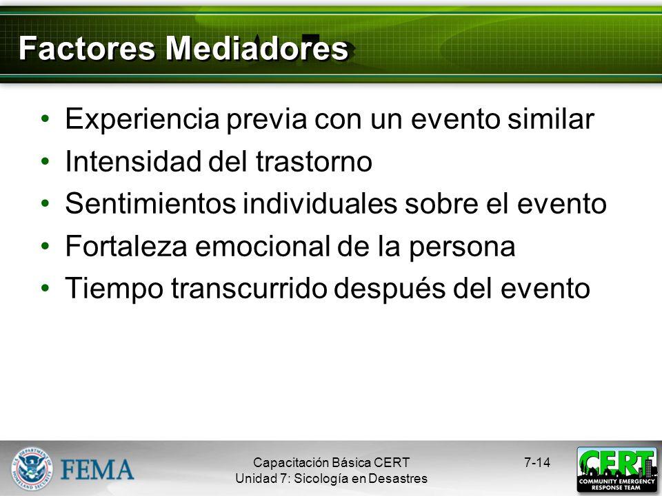 Factores Mediadores Experiencia previa con un evento similar