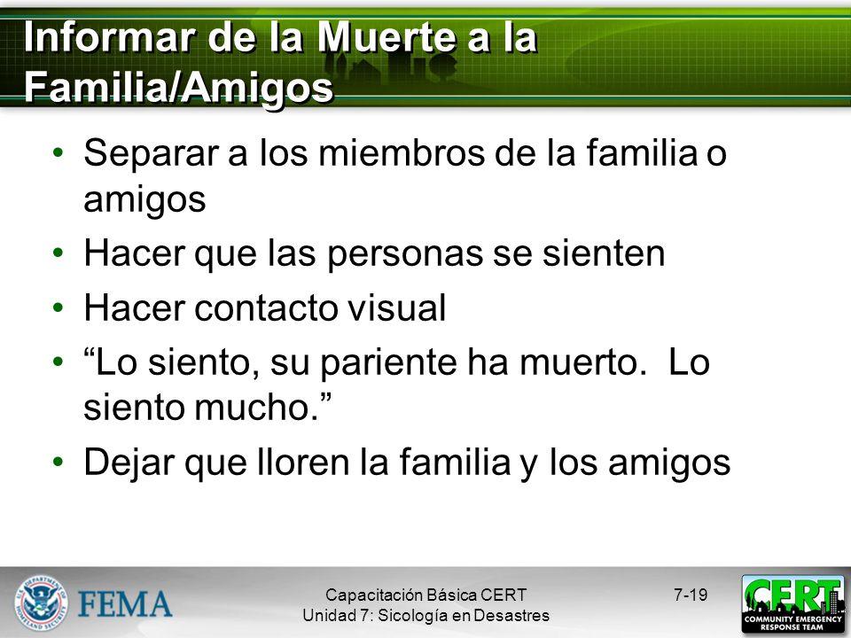 Informar de la Muerte a la Familia/Amigos