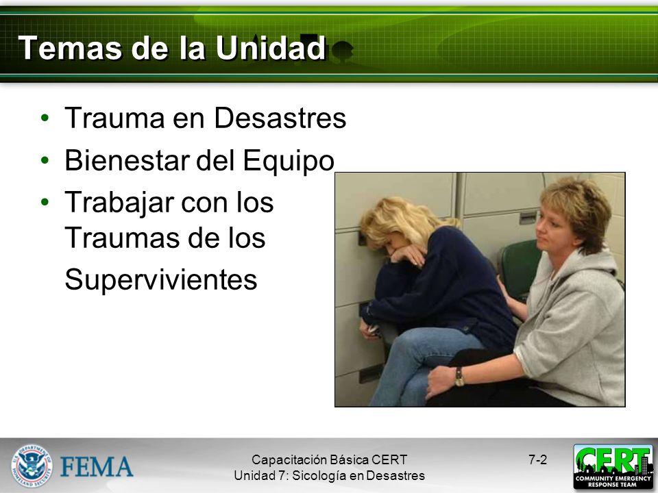 Temas de la Unidad Trauma en Desastres Bienestar del Equipo