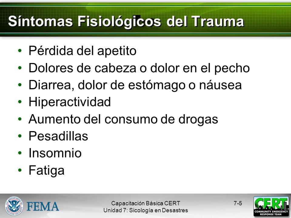 Síntomas Fisiológicos del Trauma