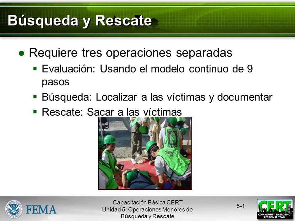 Búsqueda y Rescate Requiere tres operaciones separadas