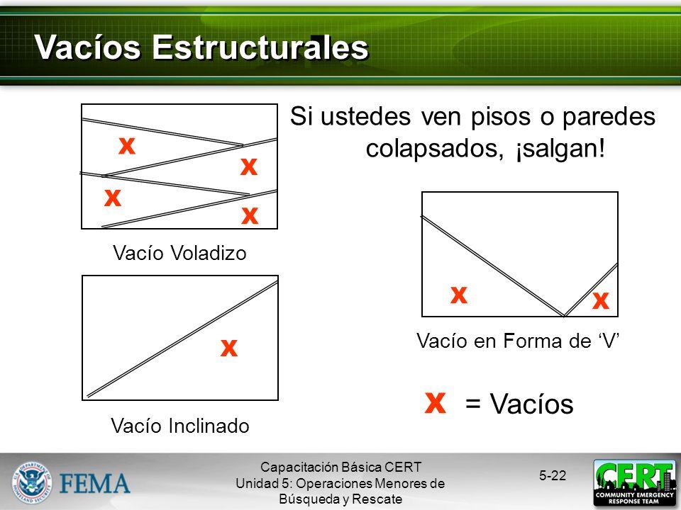Vacíos Estructurales X = Vacíos