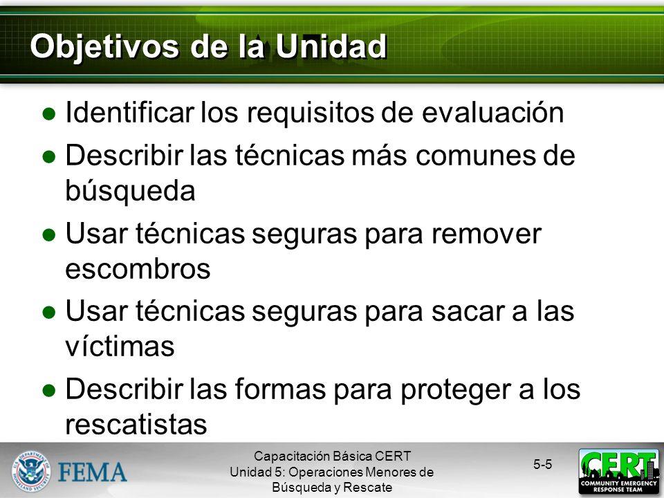Objetivos de la Unidad Identificar los requisitos de evaluación
