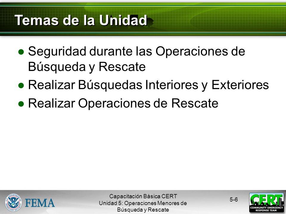 Temas de la Unidad Seguridad durante las Operaciones de Búsqueda y Rescate. Realizar Búsquedas Interiores y Exteriores.