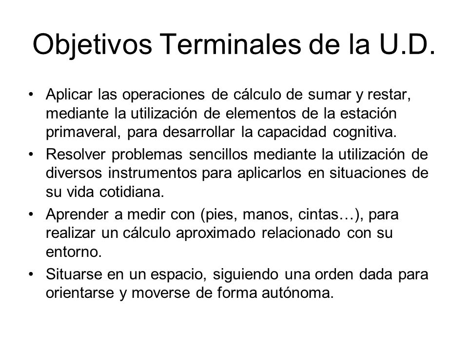 Objetivos Terminales de la U.D.