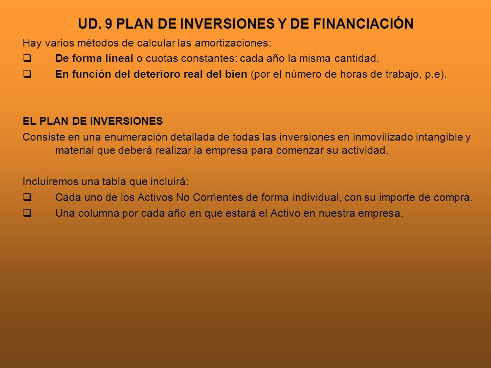 UD. 9 PLAN DE INVERSIONES Y DE FINANCIACIÓN