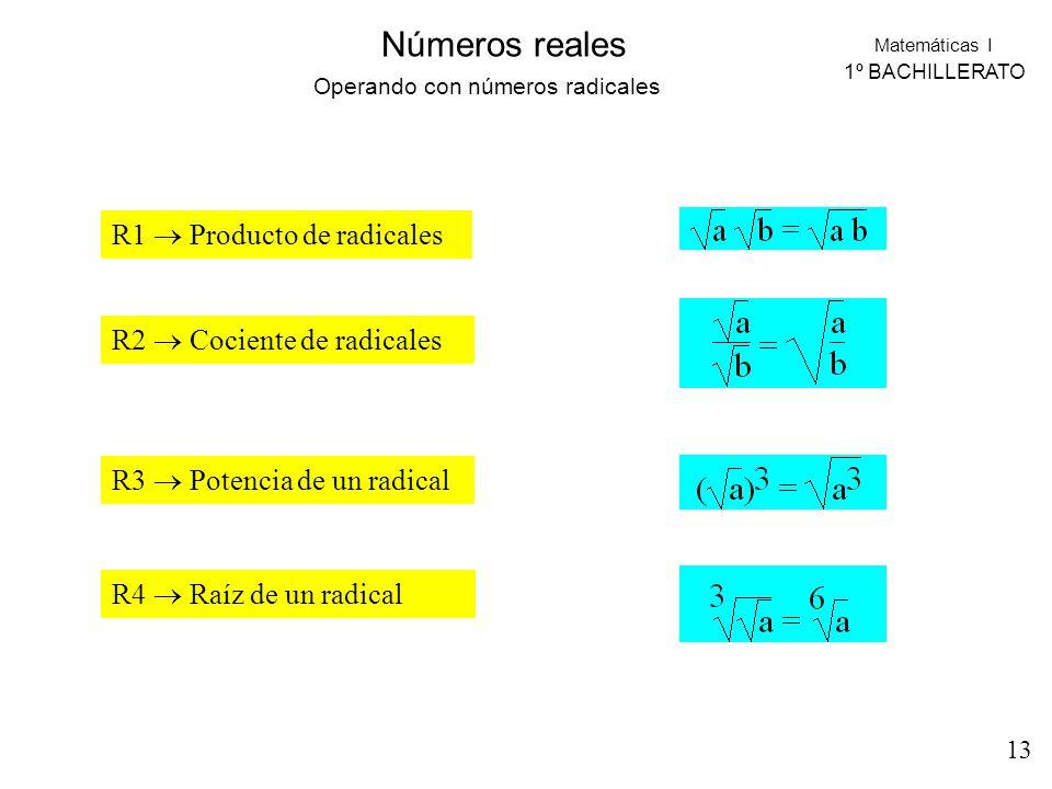 Operando con números radicales