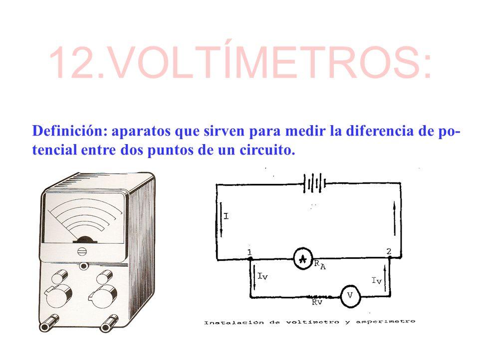 12.VOLTÍMETROS:Definición: aparatos que sirven para medir la diferencia de po- tencial entre dos puntos de un circuito.