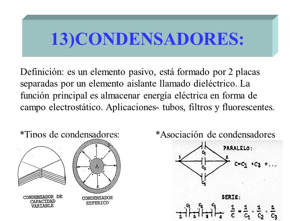 13)CONDENSADORES: