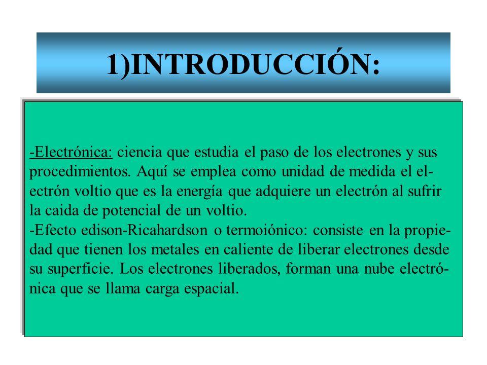 1)INTRODUCCIÓN:-Electrónica: ciencia que estudia el paso de los electrones y sus. procedimientos. Aquí se emplea como unidad de medida el el-