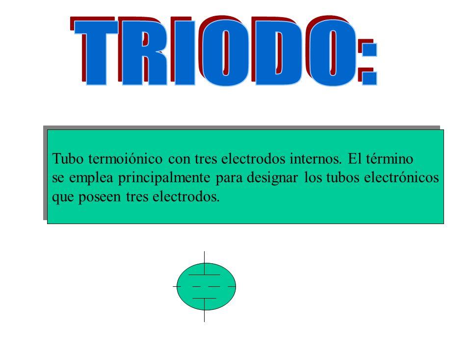 TRIODO: Tubo termoiónico con tres electrodos internos. El término