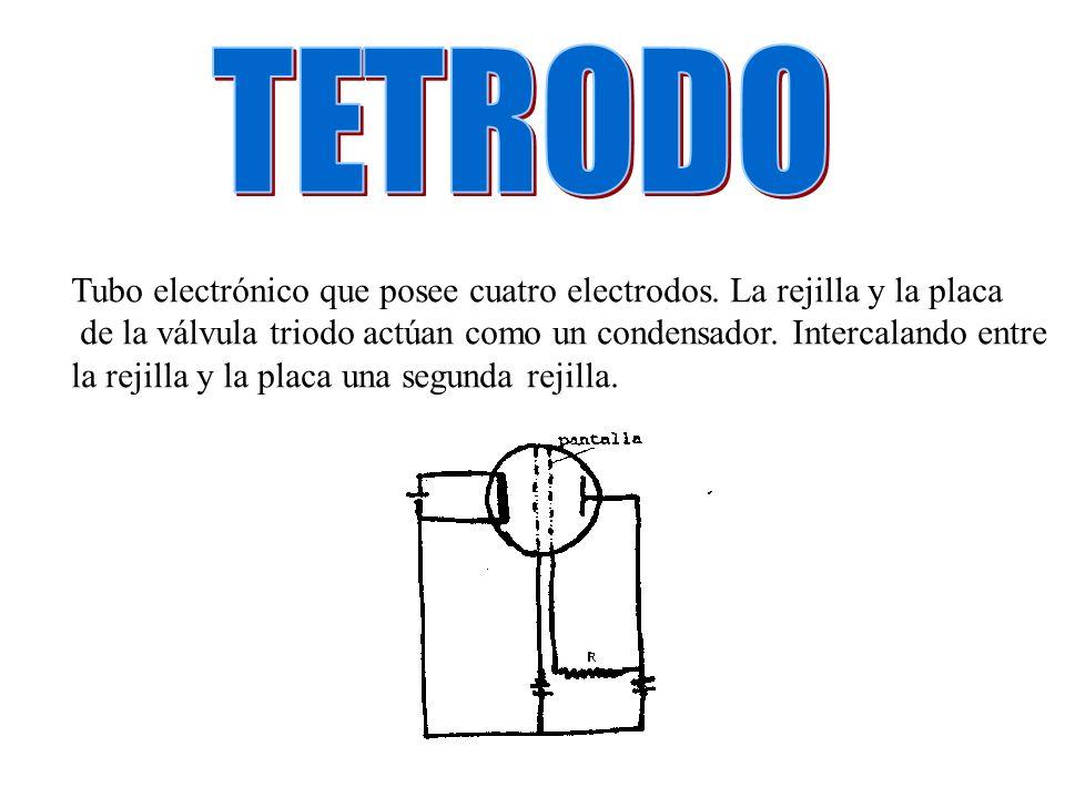 TETRODO Tubo electrónico que posee cuatro electrodos. La rejilla y la placa. de la válvula triodo actúan como un condensador. Intercalando entre.