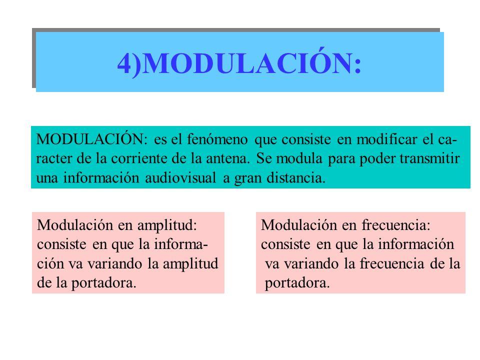 4)MODULACIÓN:MODULACIÓN: es el fenómeno que consiste en modificar el ca- racter de la corriente de la antena. Se modula para poder transmitir.