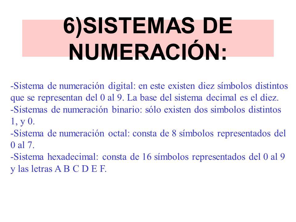 6)SISTEMAS DE NUMERACIÓN: