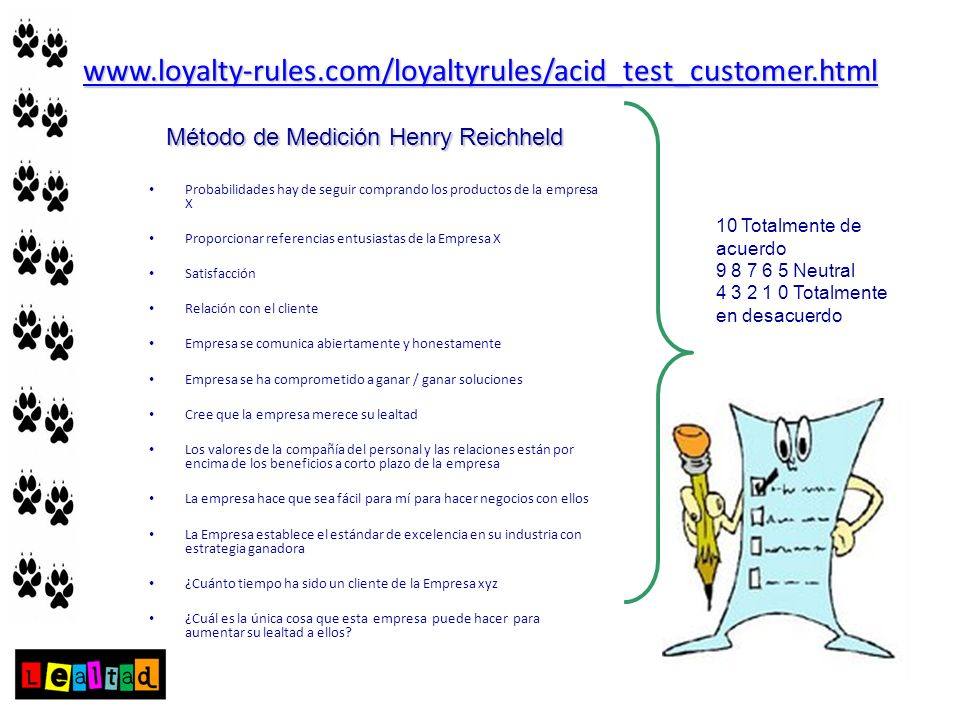 www.loyalty-rules.com/loyaltyrules/acid_test_customer.htmlMétodo de Medición Henry Reichheld.