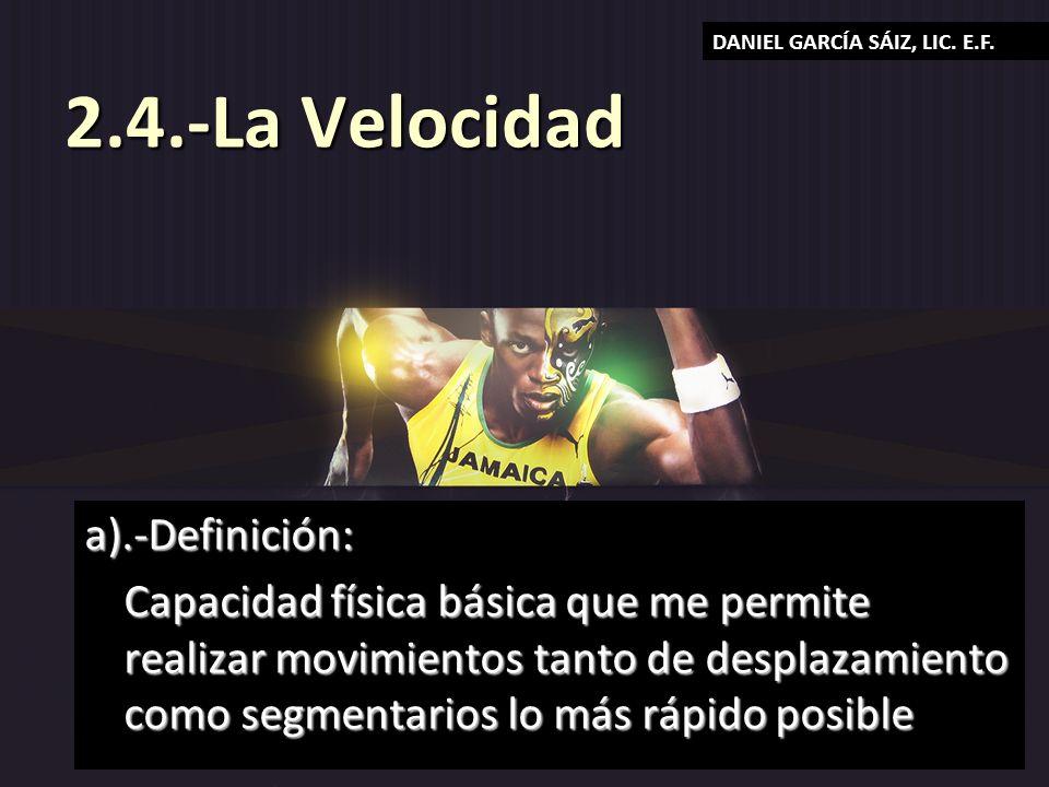 2.4.-La Velocidad a).-Definición: