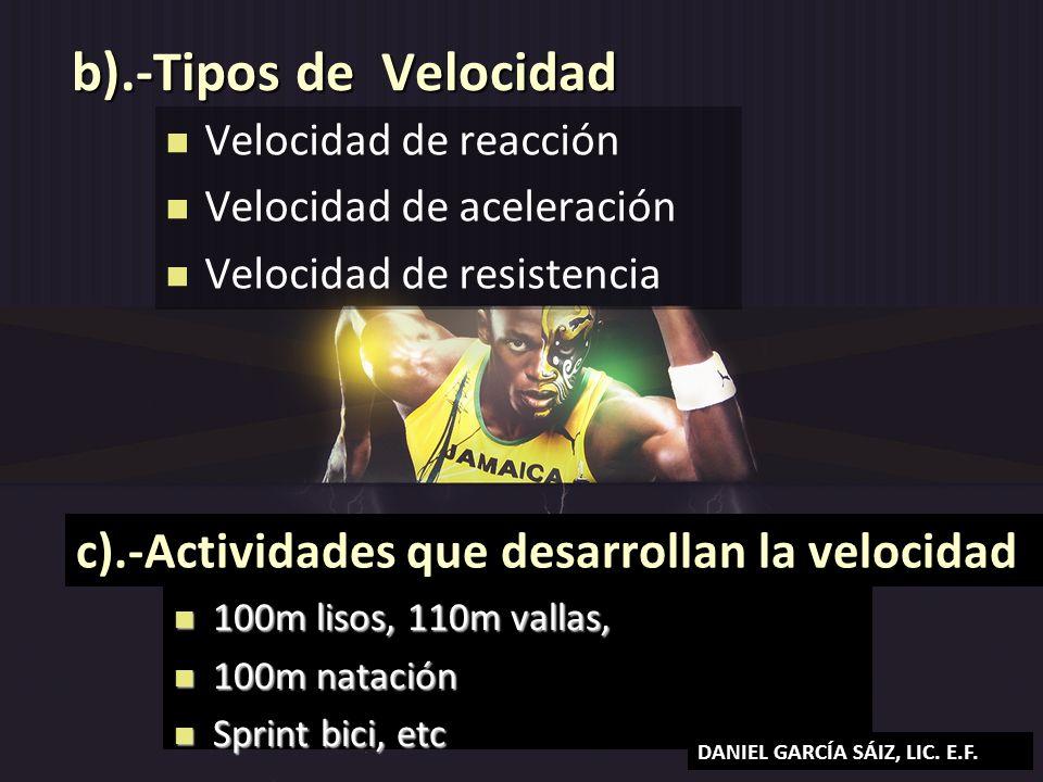 b).-Tipos de Velocidad c).-Actividades que desarrollan la velocidad