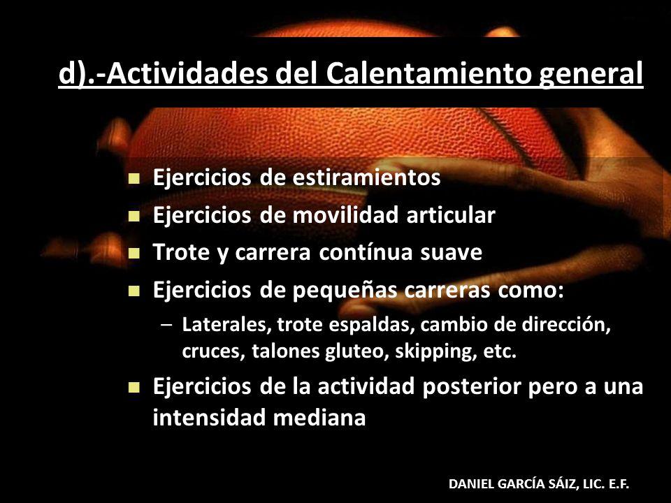 d).-Actividades del Calentamiento general