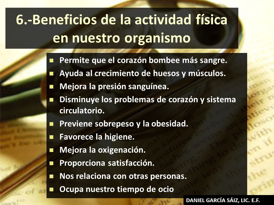 6.-Beneficios de la actividad física en nuestro organismo