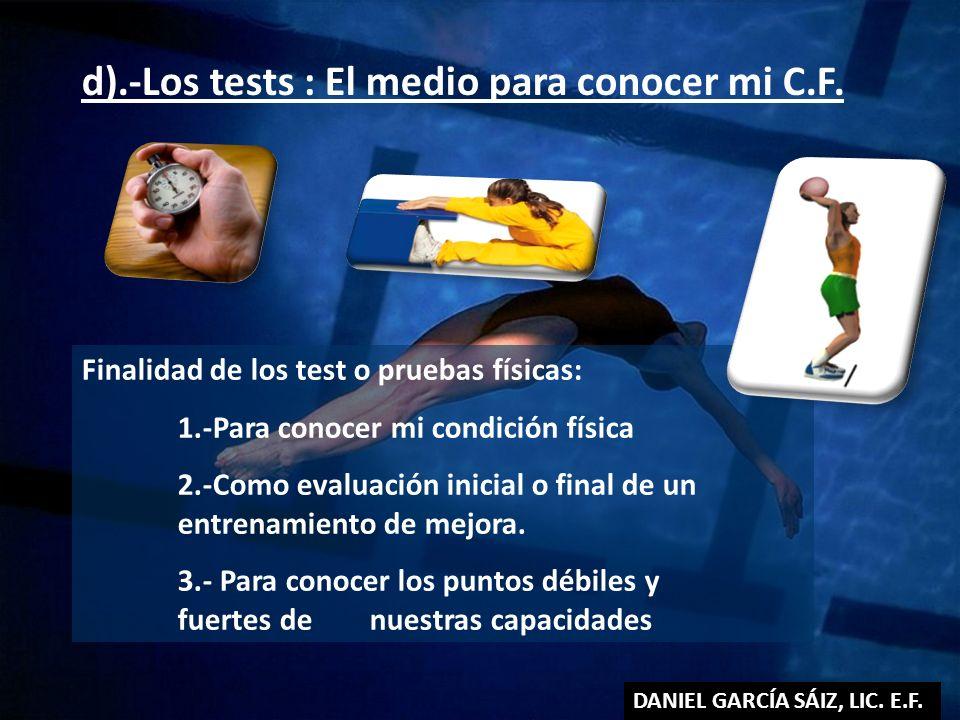 d).-Los tests : El medio para conocer mi C.F.