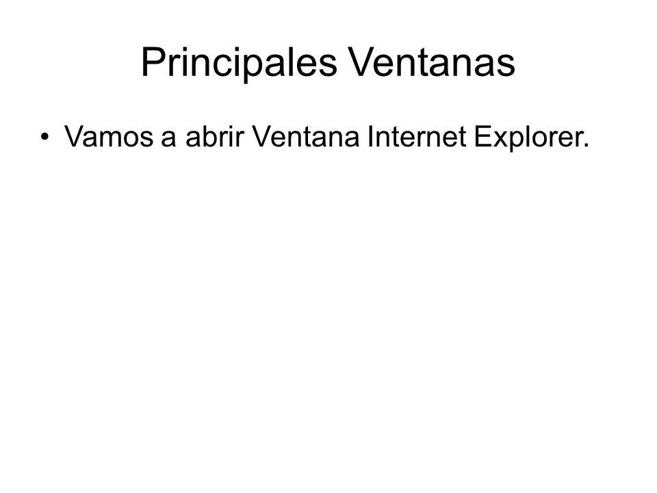 Principales Ventanas Vamos a abrir Ventana Internet Explorer.