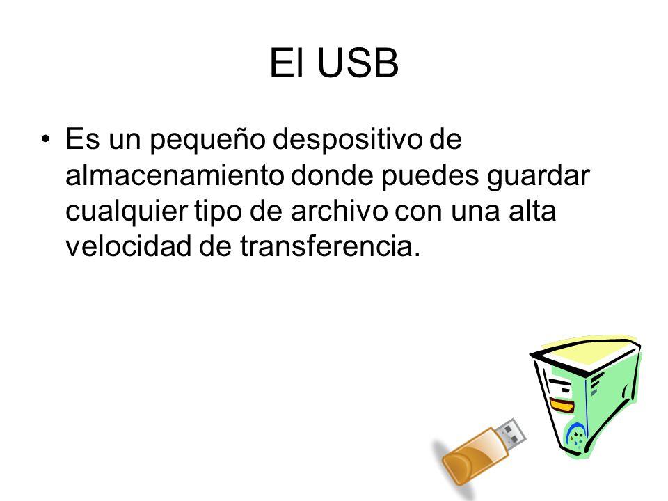 El USB Es un pequeño despositivo de almacenamiento donde puedes guardar cualquier tipo de archivo con una alta velocidad de transferencia.