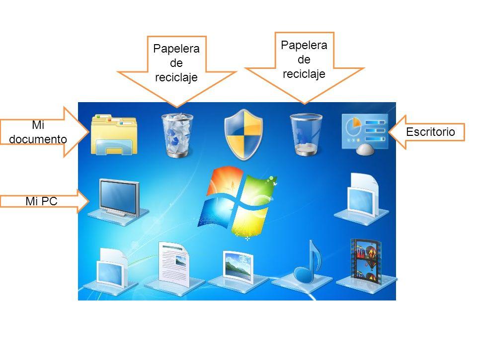 Papelera de reciclaje Papelera de reciclaje Mi documento Escritorio Mi PC