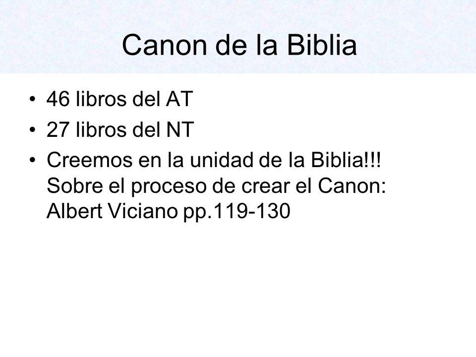 Canon de la Biblia 46 libros del AT 27 libros del NT