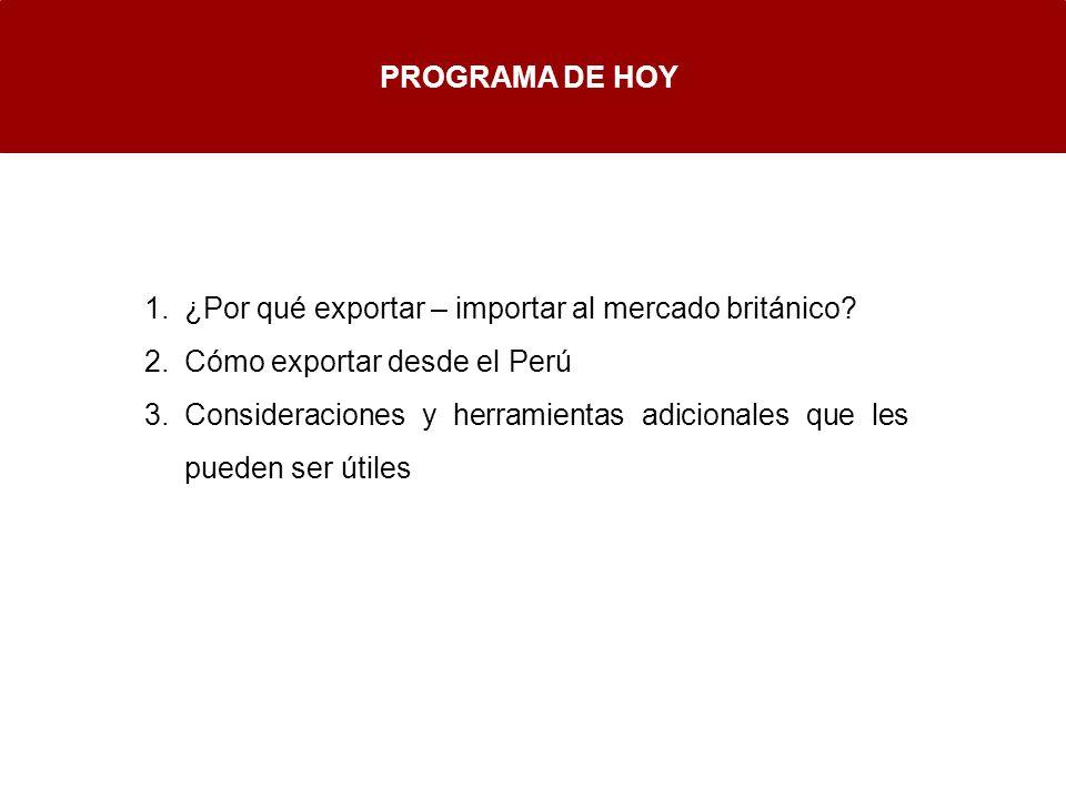 PROGRAMA DE HOY ¿Por qué exportar – importar al mercado británico Cómo exportar desde el Perú.