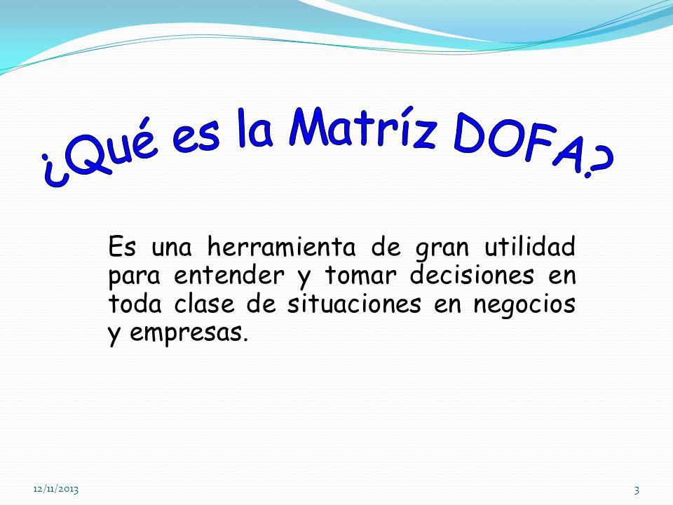 ¿Qué es la Matríz DOFA Es una herramienta de gran utilidad para entender y tomar decisiones en toda clase de situaciones en negocios y empresas.