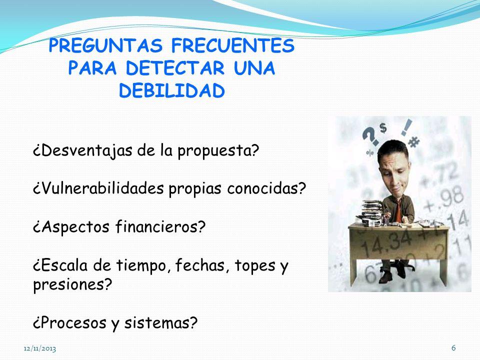 PREGUNTAS FRECUENTES PARA DETECTAR UNA DEBILIDAD