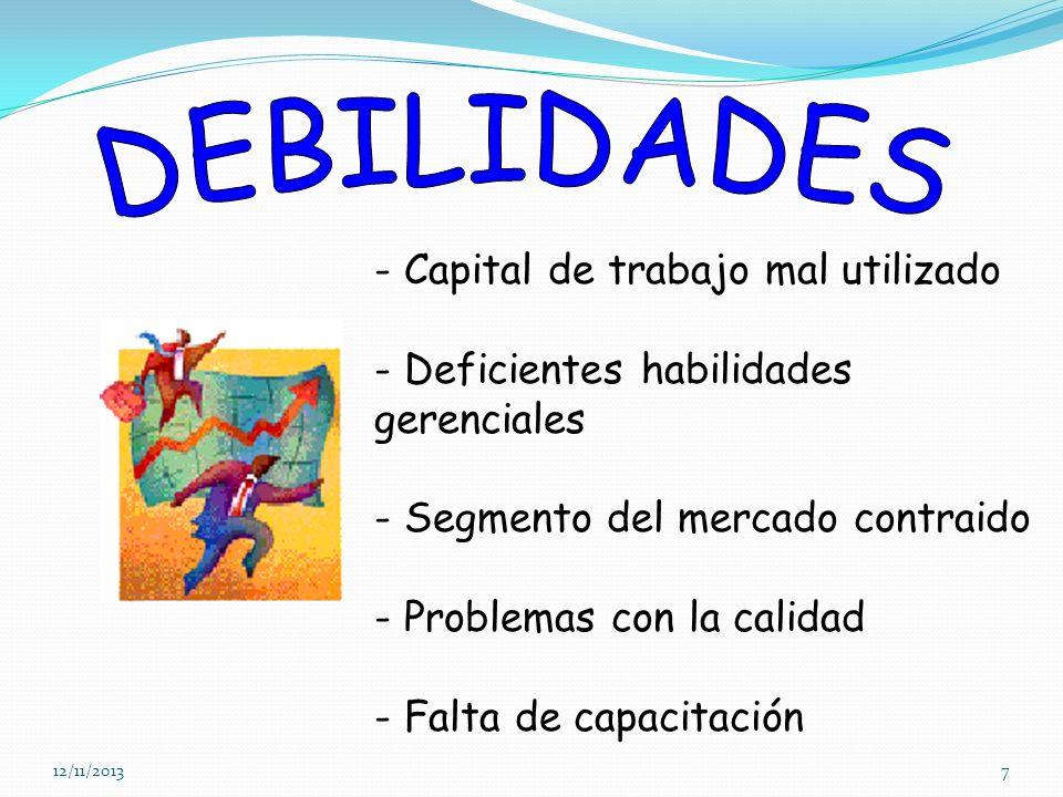 DEBILIDADES - Capital de trabajo mal utilizado