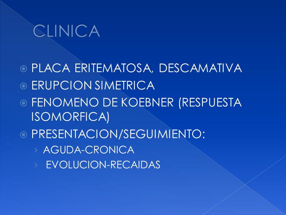 CLINICA PLACA ERITEMATOSA, DESCAMATIVA ERUPCION SIMETRICA