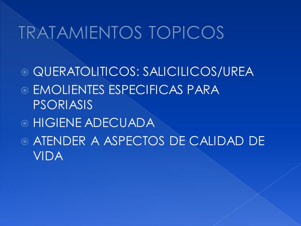 TRATAMIENTOS TOPICOS QUERATOLITICOS: SALICILICOS/UREA