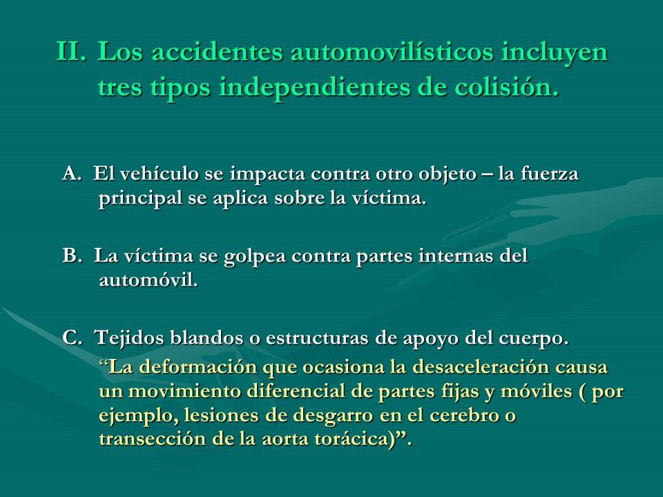 Los accidentes automovilísticos incluyen tres tipos independientes de colisión.