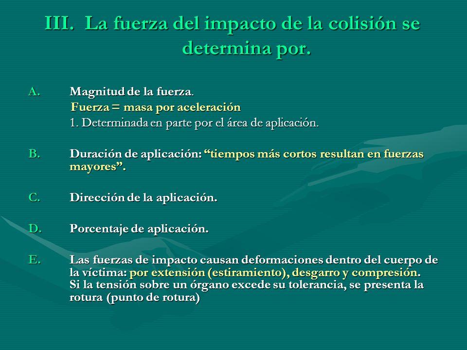 La fuerza del impacto de la colisión se determina por.