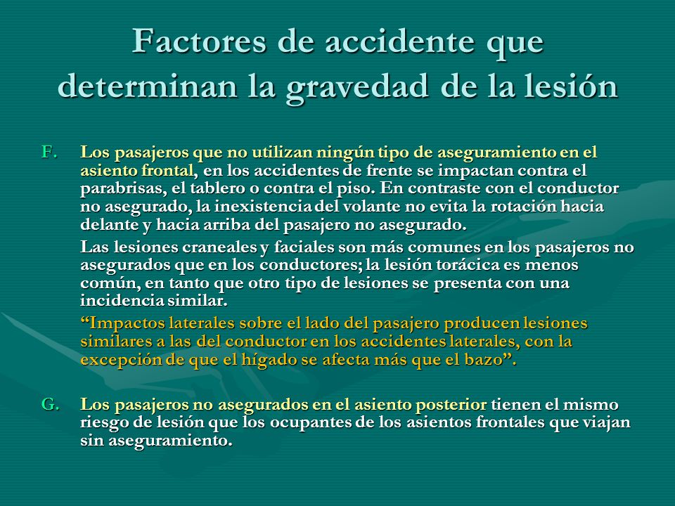 Factores de accidente que determinan la gravedad de la lesión
