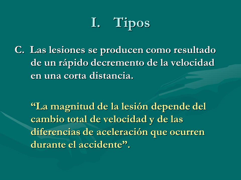 Tipos C. Las lesiones se producen como resultado de un rápido decremento de la velocidad en una corta distancia.