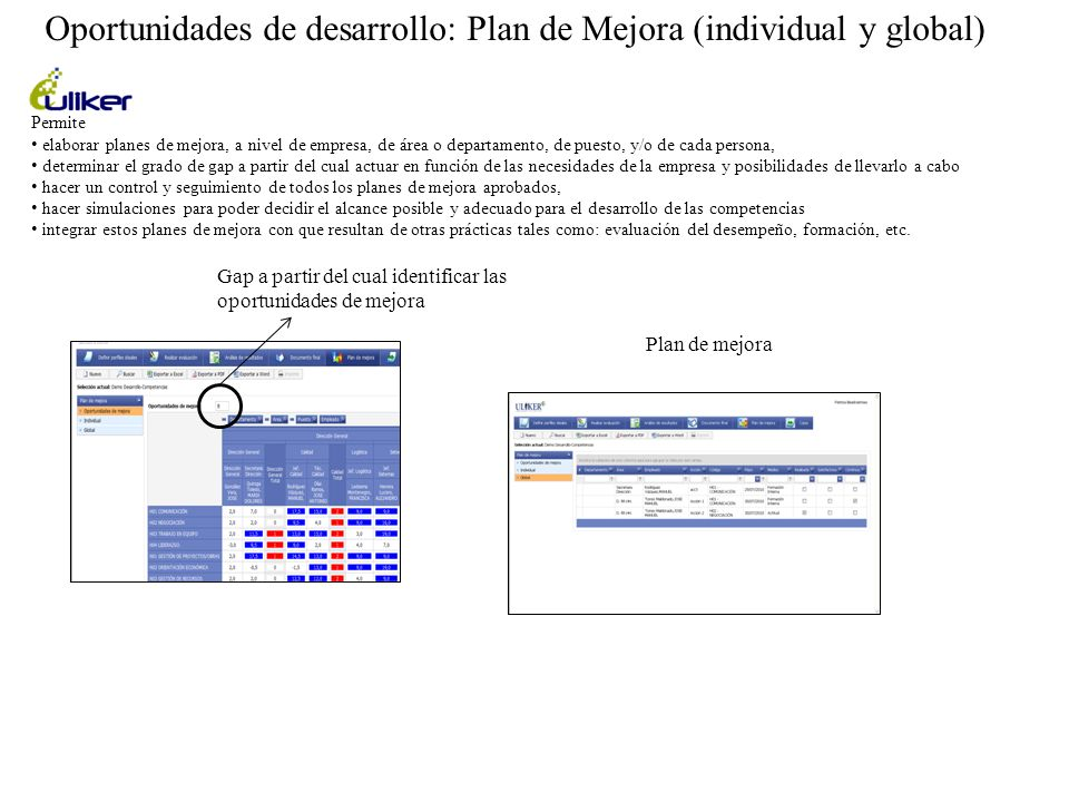 Oportunidades de desarrollo: Plan de Mejora (individual y global)