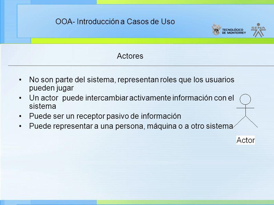 Actores No son parte del sistema, representan roles que los usuarios pueden jugar.