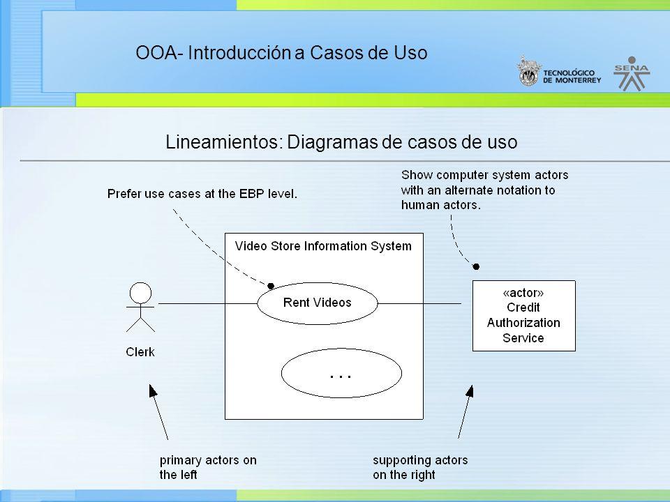 Lineamientos: Diagramas de casos de uso