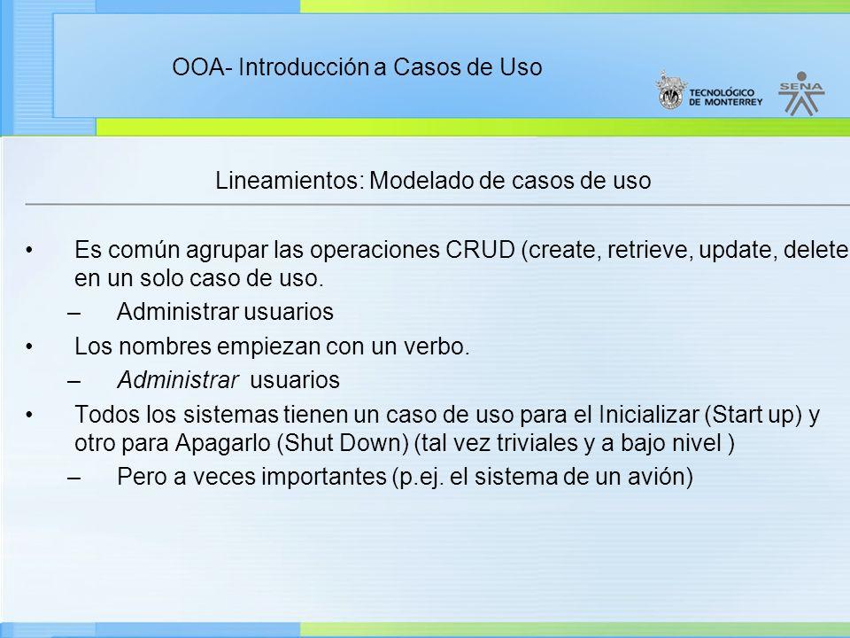 Lineamientos: Modelado de casos de uso
