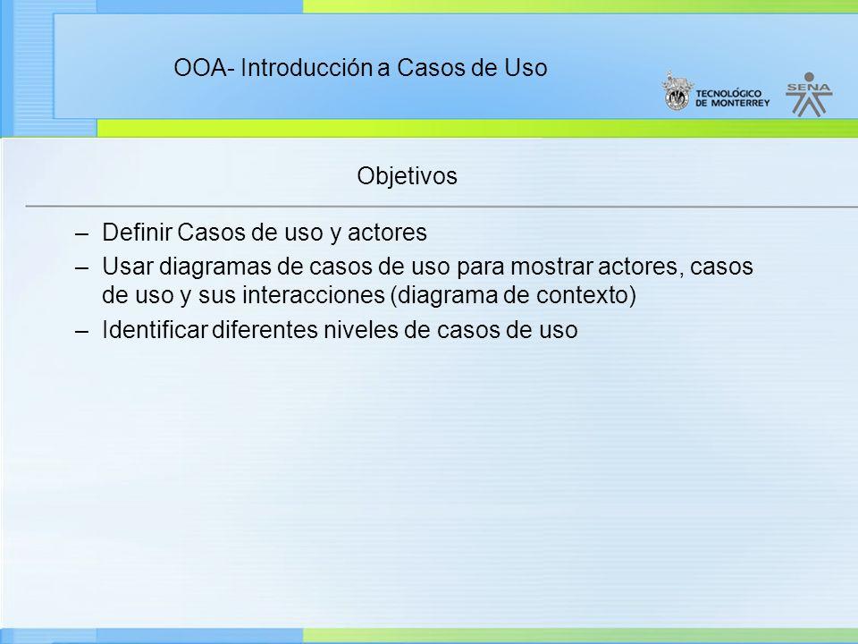 Objetivos Definir Casos de uso y actores.