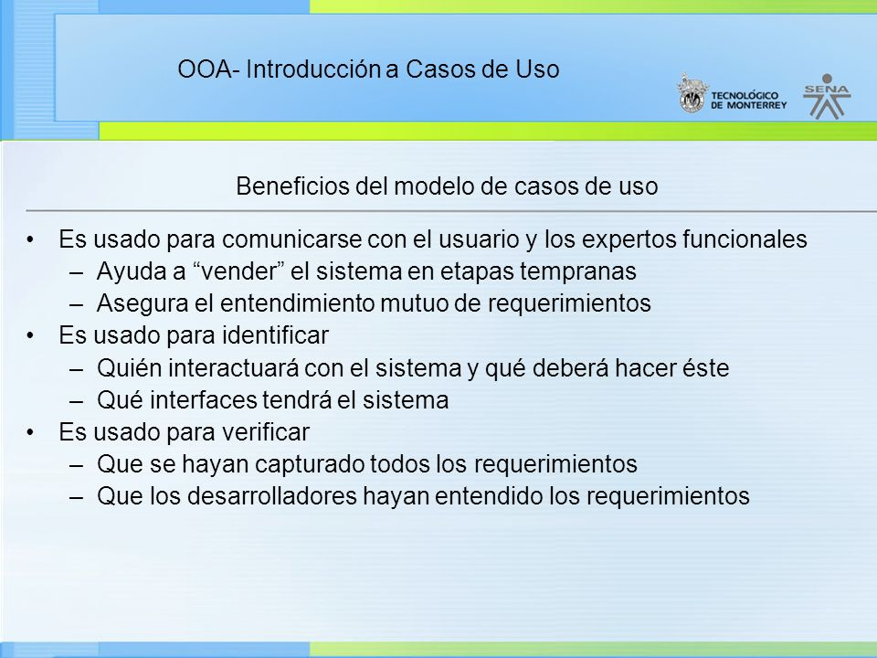 Beneficios del modelo de casos de uso
