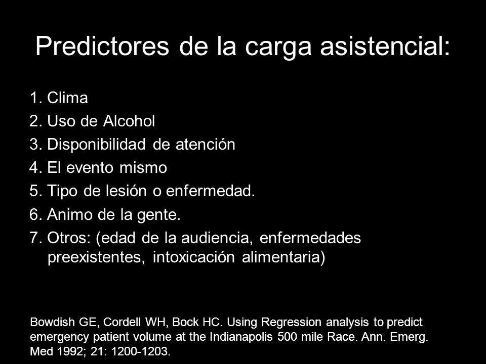 Predictores de la carga asistencial: