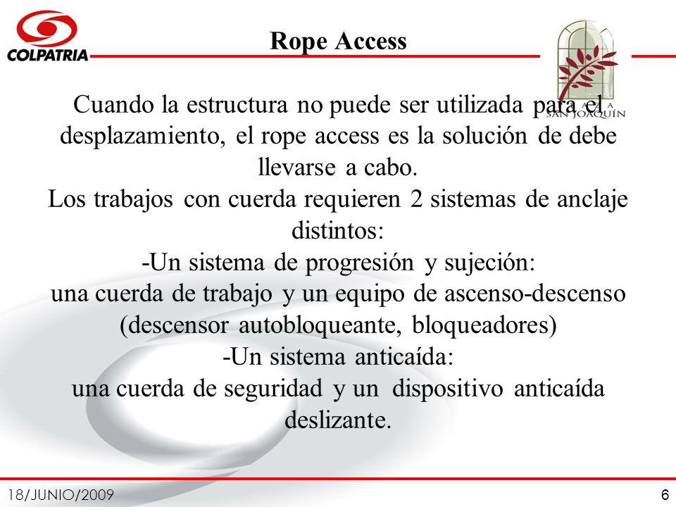 Rope Access Cuando la estructura no puede ser utilizada para el desplazamiento, el rope access es la solución de debe llevarse a cabo.