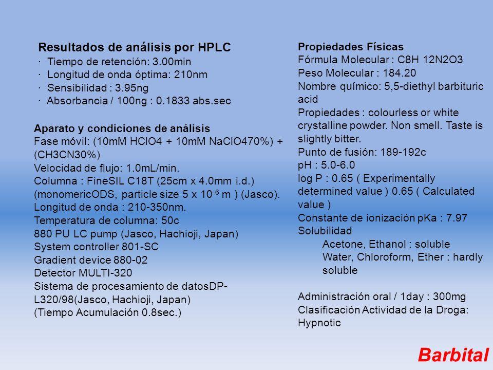 Barbital Resultados de análisis por HPLC Propiedades Físicas